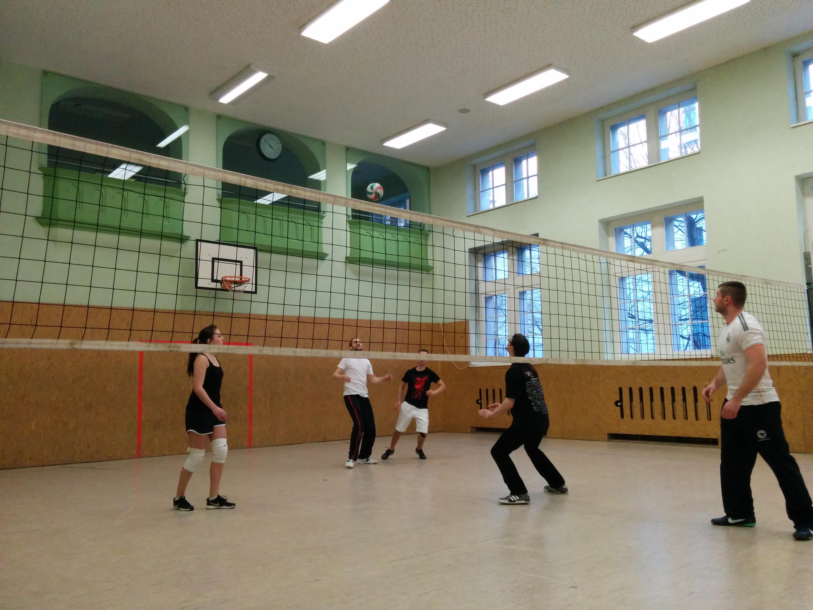 unsere Jugendlichen beim Volleyballspiel